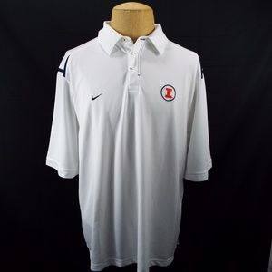 Nike Fit Dry Fighting Illini White Polo S02